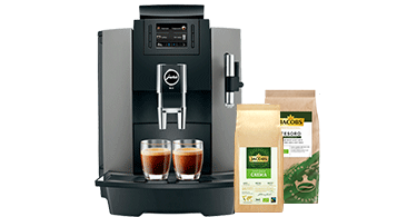 Jacobs Kaffeemaschine Jura WE8 mit Jacobs Good Origin Bohnenkaffee